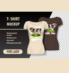 T-shirt mockup with cow and funny phrase in two vector