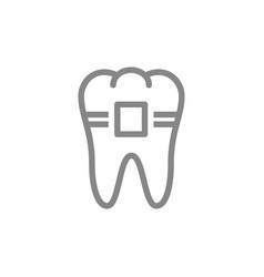 Tooth with braces line icon orthodontic treatment vector