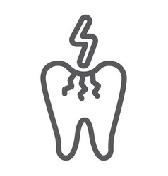 toothache line icon dentist and dental tooth vector image