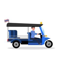 Tuk tukthailand design with driver vector