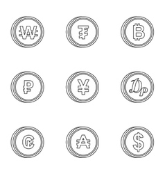 Types of money icons set outline style vector