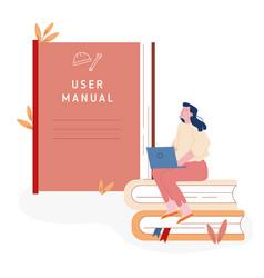 Users manual brochure faq concept woman sitting vector