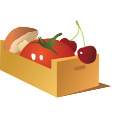 Vegetables in wooden box vector