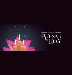 Vesak day banner candles and pink lotus flower vector