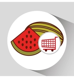 watermelon shopping cart graphic vector image