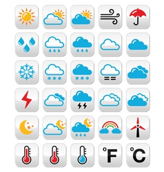 Weather forecast colorful buttons set vector image
