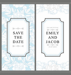 Wedding invitation card with tender hand drawn vector