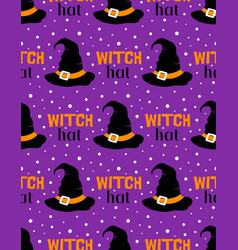 witch hat seamless pattern on purple background vector image