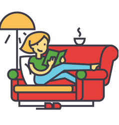 Woman sitting on home sofa reading book with tea vector