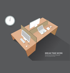 workspace workplace computer table perspective vector image
