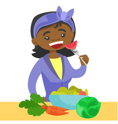 Young african woman eating healthy vegetable salad vector