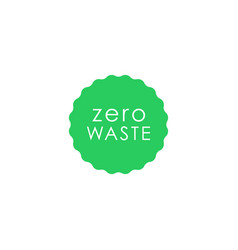 Zero waste green circle with wavy edge icon vector