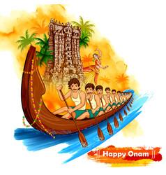 meenakshi temple backdrop snakeboat race in onam vector image