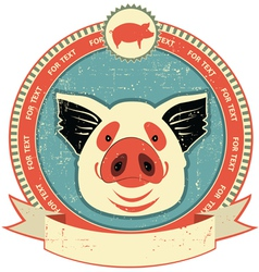 pig head label vector image vector image