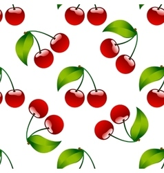 Seamless pattern background cherry red ripe berrie vector image vector image