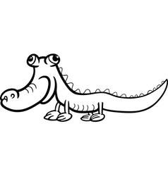 crocodile cartoon coloring page vector image vector image