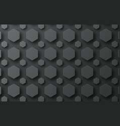 design of a black background with hexagons of vector image