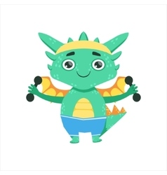 Little Anime Style Baby Dragon Exercising With vector image