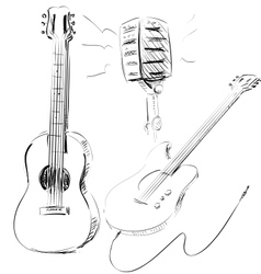 Music icons set with guitars and microphone vector image