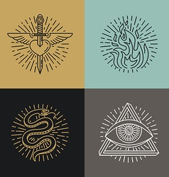 set of tattoo styled icons vector image vector image