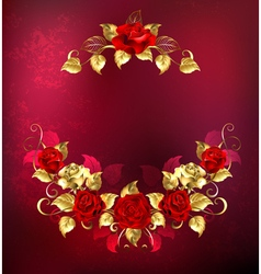 Symmetrical Garland of Gold and Red Roses vector image