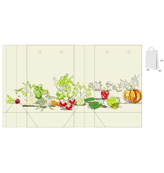 template for bag with vegetable vector image vector image