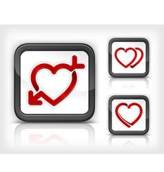 three heart button vector image vector image