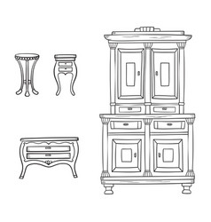 antique furniture set - closet nightstand and vector image