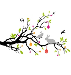 easter bunnies sitting on a spring tree vector image vector image