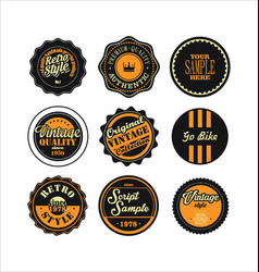 vintage labels black and yellow set 2 vector image vector image