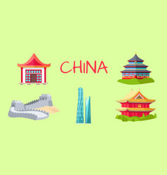 china travelling elements for tourists on green vector image vector image