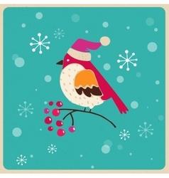 Christmas tree with bird Greeting card vector image