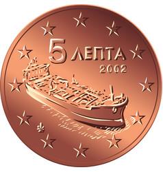 greek money bronze coin five euro cent vector image vector image