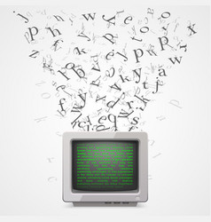 monitor with flying letters vector image vector image
