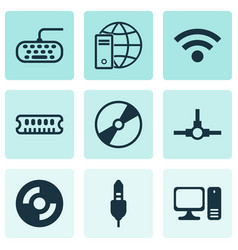 set of 9 computer hardware icons includes dynamic vector image vector image