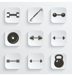 Set of sign weights for fitness or gym icons vector image