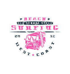 surfing bus emblem graphic design for t-shirt vector image vector image
