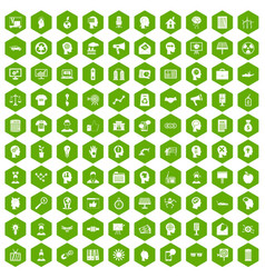 100 idea icons hexagon green vector