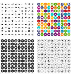 100 sea icons set variant vector