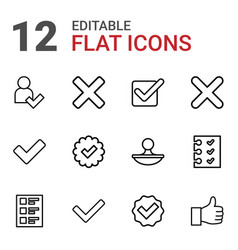 12 yes icons vector