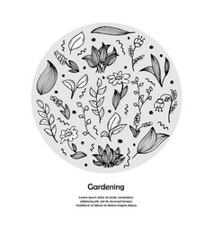A template with hand-drawn doodles flowers vector