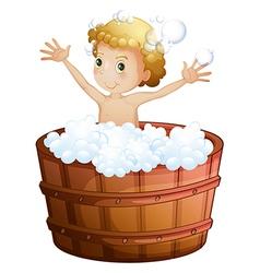 A young boy taking bath vector