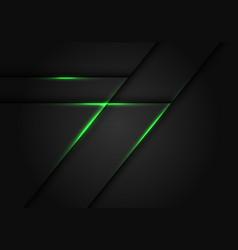 abstract green light line on dark grey geometric vector image