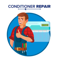 Air conditioner repair service technician vector
