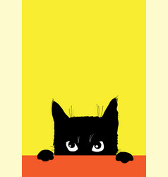 Angry black cat vector