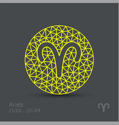 Aries zodiac sign in circular frame vector