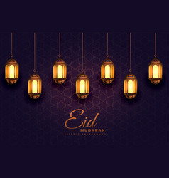 Awesome eid mubarak festival light lamps vector