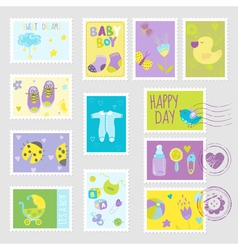 Baby Boy Stamps Design Elements vector image
