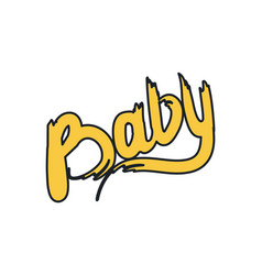 baby calligraphy word colorful vector image