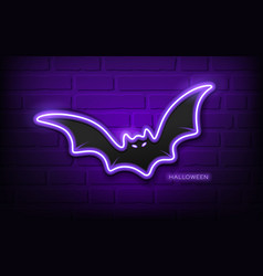 Bat neon light colorful halloween concept design vector